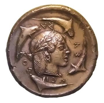 Demareteion coin with dolphins